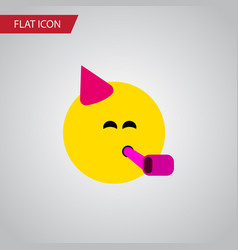 Isolated fun flat icon party time emoticon vector
