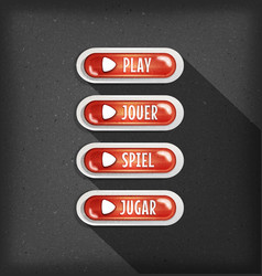 Play buttons design in multiple languages for vector