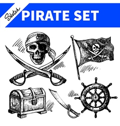 Sketch pirates set vector
