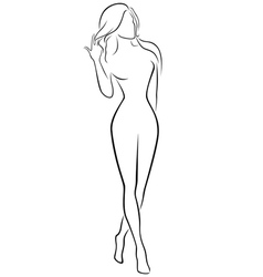 Abstract graceful female contour vector