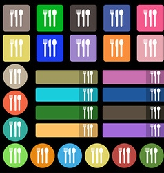 Fork knife spoon icon sign set from twenty seven vector