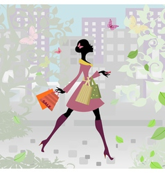 Romantic city shopping girl vector