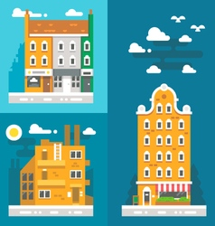 Flat design old european buildings vector