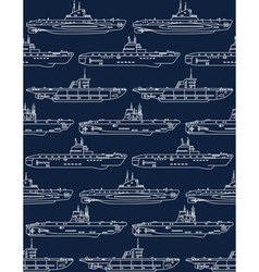 Seamless pattern with submarines vector