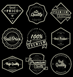 Set of vintage quality labels vector