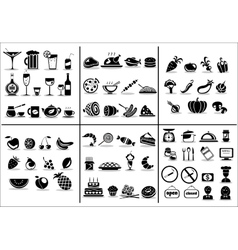 77 food and drink icons set vector image vector image