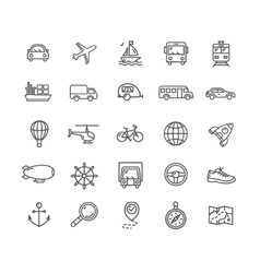 Transportation outline icon set vector