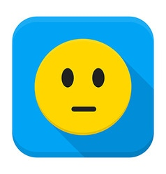 Pensive yellow smiley face app icon vector