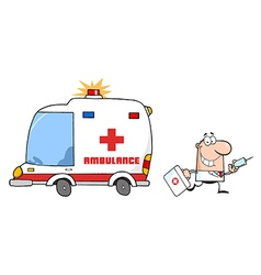 Doctor Running With A Syringe And Bag From Ambulan vector image