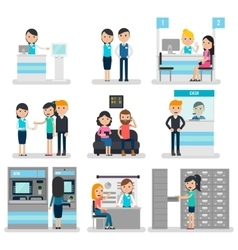 Bank People Flat Collection vector image vector image
