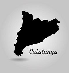 Black map of catalonia spain independence landmark vector