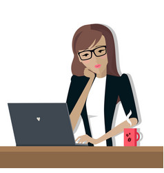 Business woman works on his laptop vector