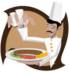 Chef seasoning steak vector image vector image