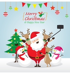 Christmas santa claus and friends selfie vector