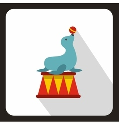 Circus seal with a bal icon flat style vector