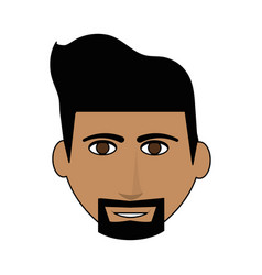 Color image cartoon front face man with beard vector