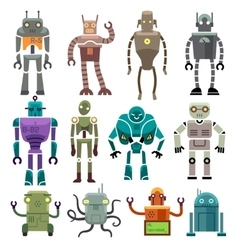 Cute vintage robot icons and characters vector image