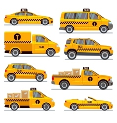 Different taxi types flat collection vector image