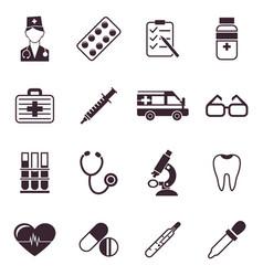 Digital black medical icons vector