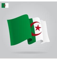 Flat and waving algeria flag vector