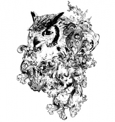 Floral owl vector