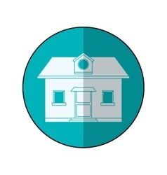 Front view home window loft blue circle shadow vector