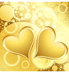 gold heart shiny background vector image vector image