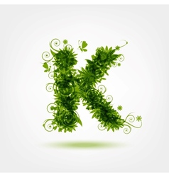 Green eco letter K for your design vector image
