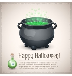 Happy Halloween card with a boiling witch cauldron vector image vector image