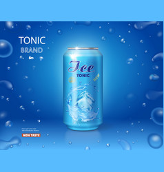 Ice drink metallic can tonic advertising vector