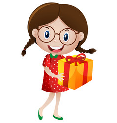 little girl holding present box vector image