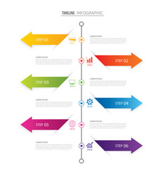 Modern 6 step infographic design template vector