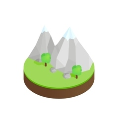 Mountains in the snow in green valley icon vector