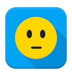 Pensive yellow smiley face app icon vector