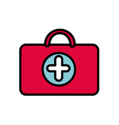 Red suitcase healthcare with hospital symbol vector