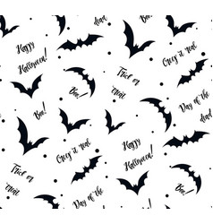 seamless pattern of bat on white black silhouette vector image