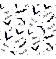 Seamless pattern of bat on white black silhouette vector