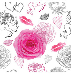 seamless pattern with cupids and roses vector image