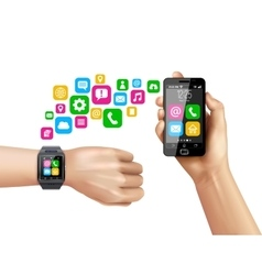 Smartphone compatible smartwatch data transfer vector