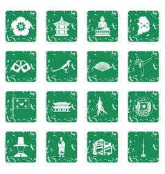 South korea icons set grunge vector