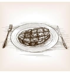 Steak sketch style vector