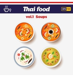 Thai food icon set hot spicy chilly soups with vector