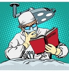 The surgeon before surgery is reading anatomy vector