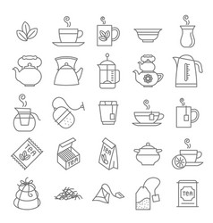 thin line tea icon set vector image