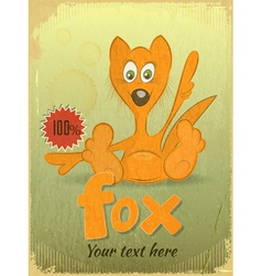 Vintage retro card with cartoon fox vector