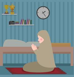 woman islam pray in tahajud shalat at night in her vector image vector image