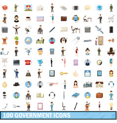 100 government icons set cartoon style vector