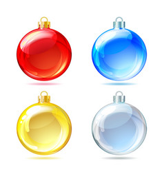 Set of Glossy Christmas balls on white background vector image