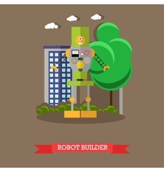 Robot builder flat design vector