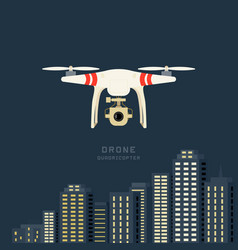 Remote aerial drone with a camera taking vector